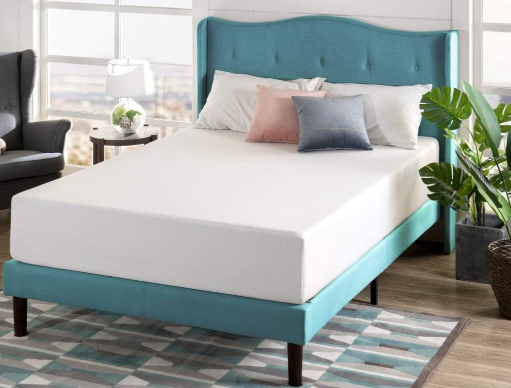 zinus green tea mattress on a bed