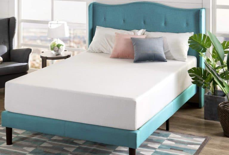 zinus green tea mattress on a platform bed