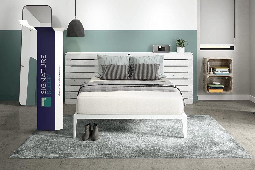 signature sleep memoir on a bed frame