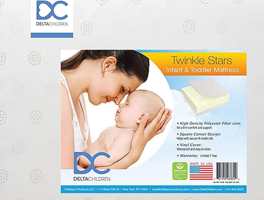 Delta Children Twinkle Stars Fiber Core Crib and Toddler Mattress